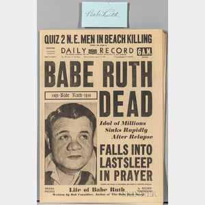 "Ruth, George Herman ""Babe"" (1895-1948) Cut Signature and Newspaper."