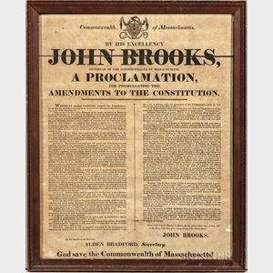 Brooks, John (1752-1825) A Proclamation for Promulgating the Amendments to the Constitution.