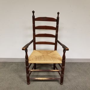 Brown-painted and Stained Maple Armchair