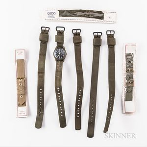 """Seven Military Canvas Wristwatch Straps and a Sovereign """"Combat Watch,"""""""