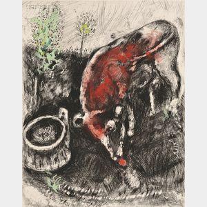 Marc Chagall (French/Russian, 1887-1985)      La grenouille qui veut fair aussi grosse que le boeuf