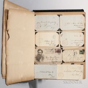 Scrapbook, American, 19th Century, Containing Postmarked Covers and Other Ephemera.