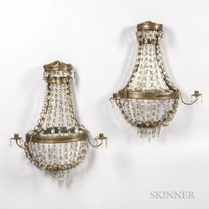 Pair of Prismed Mirrored Sconces