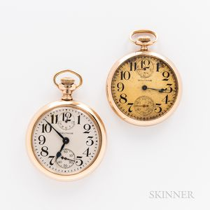 Two Open-face Waltham Watches with Up/Down Indicators