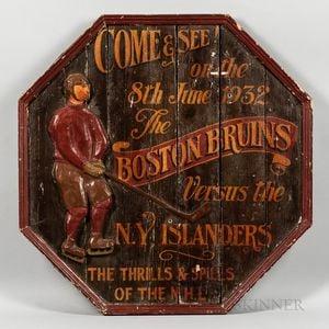 "Vintage Octagonal Carved Wood and Gesso ""Boston Bruins"" Sign"