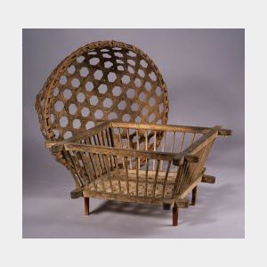 Woven Splint Cheese Basket and Wooden Cheese Strainer