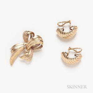 Pair of 14kt Gold Shrimp Earrings and 14kt Gold and Diamond Bow Brooch