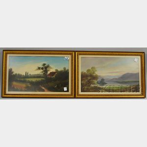 Two Late 19th/Early 20th Century American School Oil on Panels Depicting a Mountain   Lake Landscape and a Landscape with Cottage