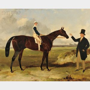 """Attributed to Harry Hall (British, 1814-1882)      Portrait of """"Mounseer""""   with Jockey Up"""