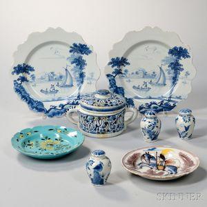 Eight Delft Tin-glazed Earthenware Items