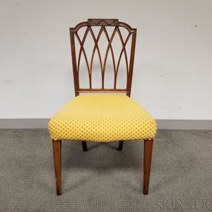 Federal Carved and Upholstered Mahogany Side Chair
