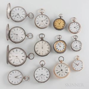 Thirteen Swiss and Liverpool Key-wind Watches
