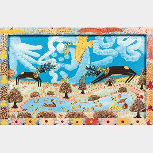 European School, 20th Century      Double-sided Folk Art Landscape.