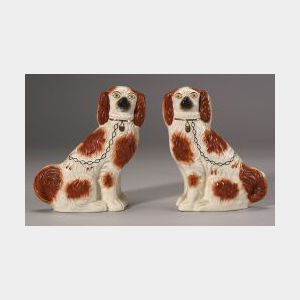 Pair of Staffordshire Pottery King Charles Spaniels