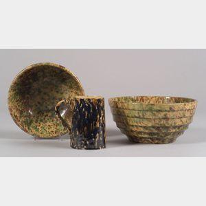 Two Spongeware Mixing Bowls and a Mug