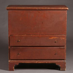 Red-painted Pine Chest over Two Drawers