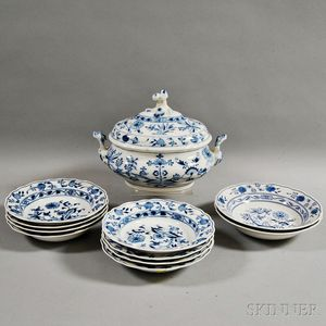 "Eight Meissen ""Blue Onion"" Soup Bowls, a Meissen Covered Tureen, and Two German Porcelain Bowls"
