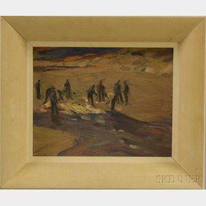 Charles Herbert Woodbury (American, 1864-1940)      Oil Sketch: Figures in the Dunes