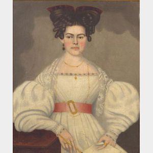 Attributed to Erastus Salisbury Field (Massachusetts, 1805-1900)      Portrait of an Elegantly Dressed Lady.