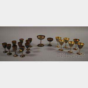 Eighteen Asian Silver Wine Glasses
