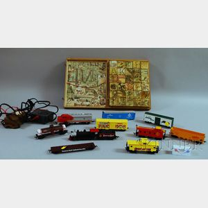 French Lithographed ABC Block Set and Toy Trains