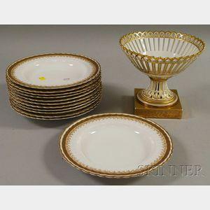 Set of Twelve Bodley Gilt Porcelain Soup Plates and a Paris Porcelain Gilt Footed   Basket