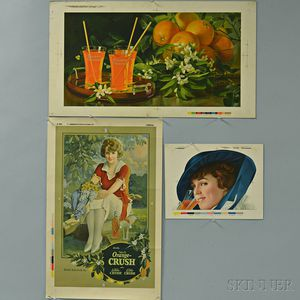 Six Orange-Crush and Golden Orange Letterpressed Press Sheets