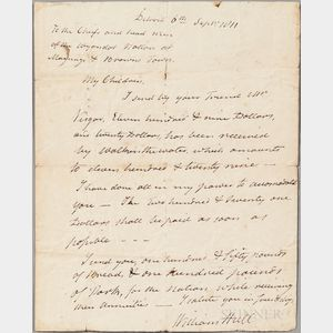 Hull, William (1753-1825) Autograph Letter Signed, Detroit, 6 September 1811.