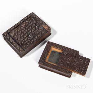 Two Chip-carved Book-form Slide-lid Boxes