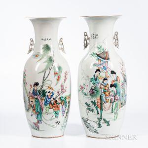 Near Pair of Large Enameled Vases