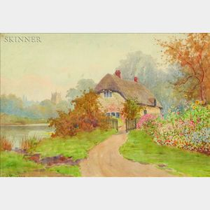 Albert Kinsley (British, 1852-1945)    Old Thatched Cottage, Warwickshire