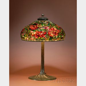 "Sold for: $435,000 - Tiffany Studios Leaded Glass and Bronze  ""Elaborate Peony"" Lamp Shade and Base"