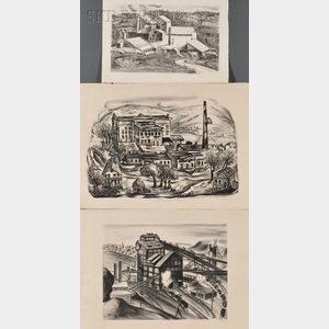 Three WPA Industrial Views:      Lillian Adelman (American, 1899-1985), Abandoned Factory