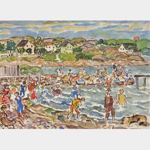 Maurice Brazil Prendergast (American, 1858-1924)      Bathers on a Rocky Shore