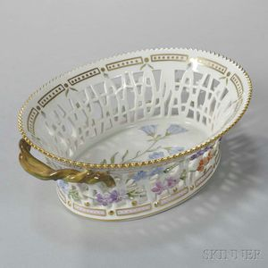 "Two Royal Copenhagen ""Flora Danica"" Porcelain Oval Baskets"