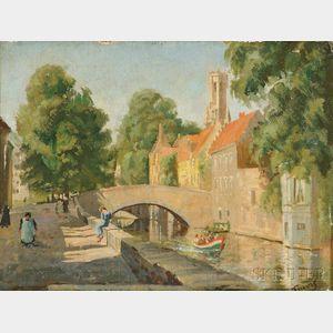 Walter Travis (British, 19th/20th Century)      Le Quai Vert, Bruges
