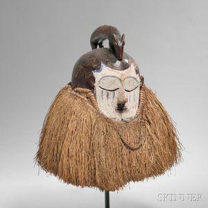 Suku Carved Wood Helmet Mask