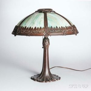Arts and Crafts Cast Metal and Slag Glass Table Lamp