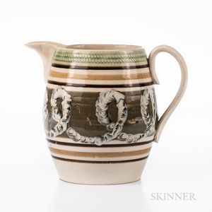 Cable and Slip-decorated Pearlware Jug