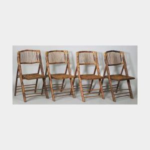 Four Asian Export Bamboo Folding Chairs