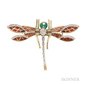 18kt Gold, Plique-a-jour Enamel, Enamel, and Diamond Dragonfly Brooch