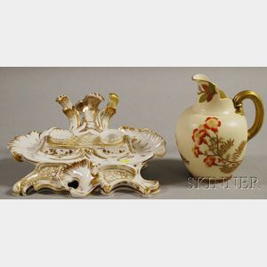Two European Porcelain Gilt-decorated Items