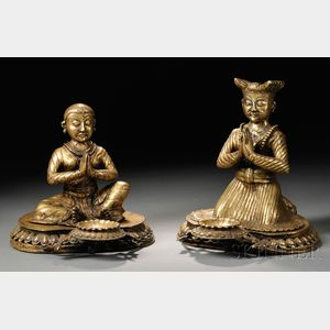 Two Nepalese Gilt-bronze Donor Figures
