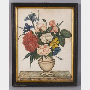 American School, 19th Century  Still Life of a Vase with Flowers.