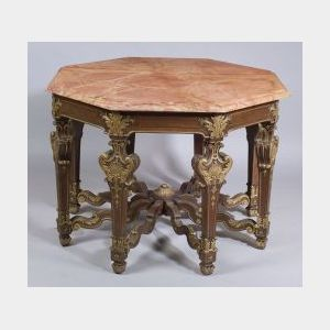 Baroque-style Painted and Parcel Gilt and  Marble-top Octagonal Center Table