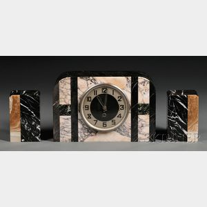 Art Deco Marble Clock and Bookends