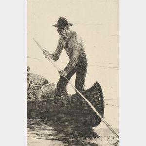 Frank Weston Benson (American, 1862-1951)      Riverman