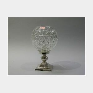 Waterford Colorless Glass Globe on Silver Plated Candleholder.