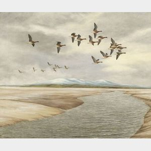 Geoffrey Campbell Black (British, 20th Century)    Ducks in Flight