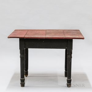 Country Painted and Turned Pine Kitchen Table
